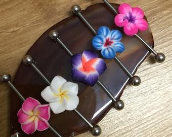 1 x Hawaiian Plumeria Colourful Flower Tropical Scaffold/Industrial Piercing Barbell - UK Seller
