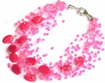 Hot pink necklace, Wedding jewelry,  Bridesmaid gift, Beaded Multistrand necklace. Beaded Jewelry