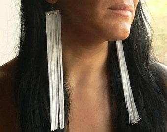 White Fringe Earrings. Extra Long Earrings. White Shoulder Duster Earrings. Very Long Fringe Earrings, LLF01