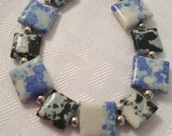 White, Black & Blue Bracelet - Blue Stone Bracelet - Stone Bracelet - White Bracelet - Black Bracelet - Women's Bracelet - Stone Bracelet