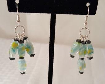 Pale Blue Earrings - White Earrings - Yellow Earrings - Glass Bead Earrings - Beaded Earrings - Women's Earrings -Pale Blue Earrings -Dangle