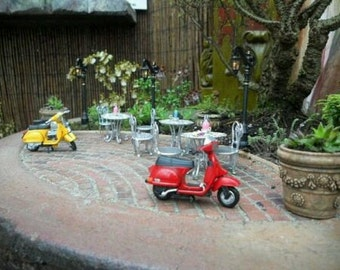 Fairy Garden Vespa in Red, Miniature Bike, Dollhouse Bike, Moped, Fairy Playground, Miniature Play Ground, Miniature Accessories