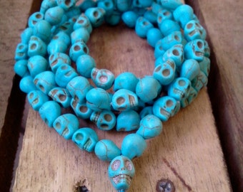 Turquoise Carved Skull Head 108 Prayer Beads Mala Necklace