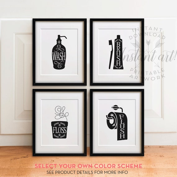 Bathroom art set printables wash brush floss flush bathroom for Black and white bathroom wall decor