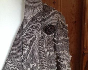 Duster coat in brown/cream fabric
