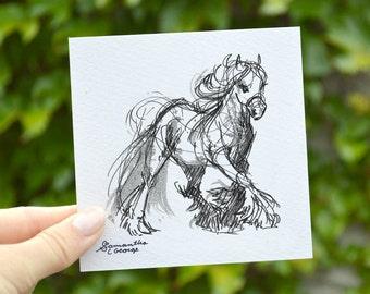 4x4 Print - Draft Horse Sketch Print