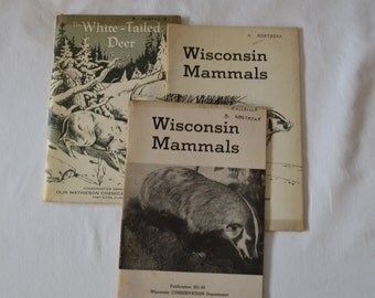Set of 3 Vintage Conservation Books From Wisconsin And Illinois White Tailed Deer