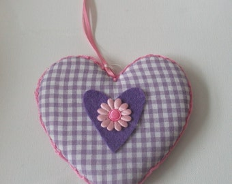 handstitched hanging fabric heart. purple  gingham with purple heart centre. home decor