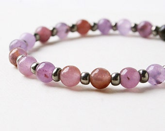 7 in. Purple Jade Beads Bracelet