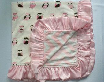 Pink owls Minky blanket, Baby blanket.