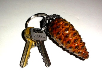 Pinecone Keychain, key chains, key rings. Natural pine cone key chain. Handcrafted pinecone key ring. Pinecone ornament key chain. Pine cone