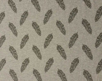 0, 5m Cotton Jersey geo Springs black on grey cloth by the metre