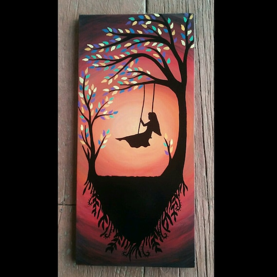 Tree silhouette art home and living home decor wood by for Mural on wood