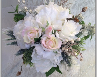White bouquet, Peonies and roses.