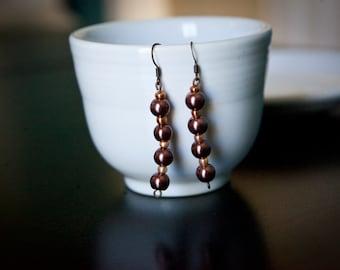 Long metallic brown bead earrings