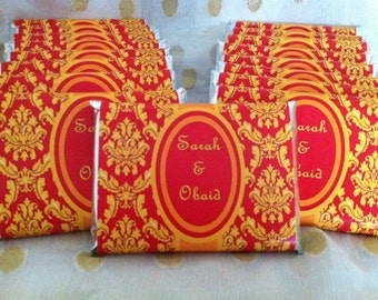 Red and gold, Personalized wedding favors, wedding party favors, damask wedding, bridal shower favor, personalized candy bar wrappers, 24 ct