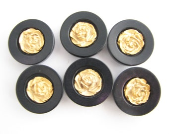 """6 black and golden shank buttons, vintage plastic buttons with metal roses, 23 mm - 7/8"""", unused!!"""