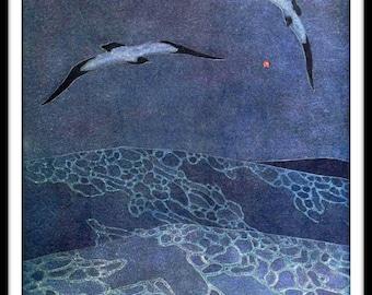 """Vintage Art Nouveau Sea Scape Art Image  Wall Decor  Unframed 8.5 x 11"""""""