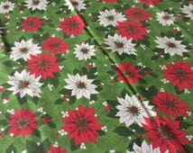 Vintage Christmas Tablecloth~White & Red Poinsettias on Green~Holiday Linens~ Kitchen Textile~Larger Size~81 x 60~Fabric~1960's