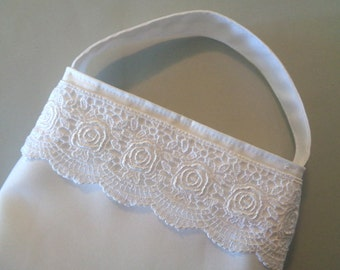 White Satin First Communion Purse, White Lace Purse, Flower Girl Purse, Brides Dance Bag, Confirmation, Girls Purse, Prom Purse, Bridesmaid