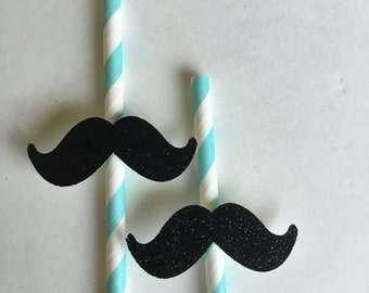 Mustache straws 10 ct. Little man party. Mustache party. Baby boy party favors. First Birthdy. Black and teal party favors. Dapper birthday.