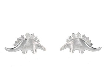 Super Cute Textured Finish Little  Stegosaurus Dinosaur Stud Earrings in Sterling Silver