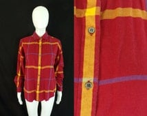 50%OFF Aug23-25 womens flannel shirt size medium / large, 1980s plaid shirt, womens button down, red yellow blue, long sleeve, 80s blouse
