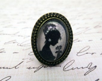 victorian style ring black and white cameo ring adjustable photo ring vintage photo ring custom photo ring personalized photo ring oval ring