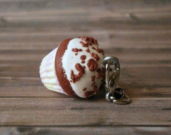 Chocolate Cupcake - Phone Charm - Polymer Clay Charms - FIMO - Gift for Best Friend - Fake Food Cupcake - Car Accessories - Miniature Sweet