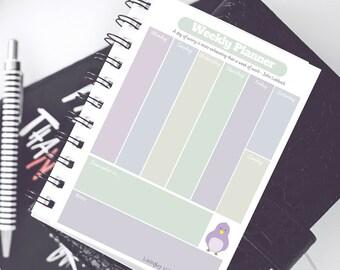 Printable Weekly Planner - Pastel Bird