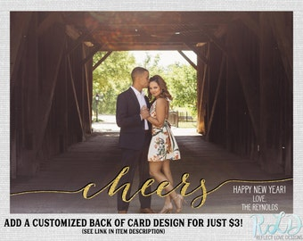 Happy New Year Cheers Gold Card With Horizontal Photo Digital Printable File