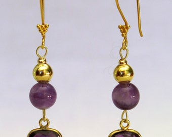 Amethyst earrings and gold-plated solid silver