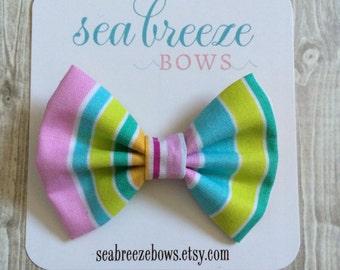 Pastel Fabric Bow - Headband or Alligator Clip