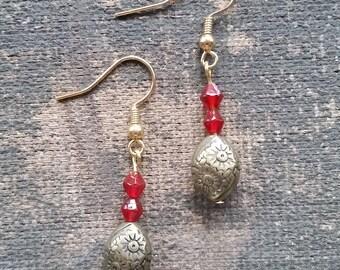 Red Drop Earrings, Handmade Earrings, Dangle Earrings-Ready To Ship