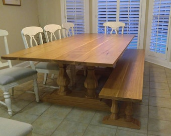 Double Pedestal Farmhouse table made from Hickory.