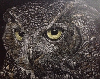 Great horned owl tinted scratchboard 5inches x 7inches original art -- available now!