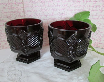 Footed compotes-Avon,Vintage Avon Cape Cod 1876 collection,red tumbler,small vintage compotes,red glass,pressed glass,collectible glass ware