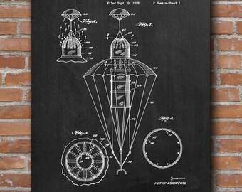 Parachute Patent, Parachute Print, Skydiving Wall Art, Skydiving Poster, Skydiver Decor, Patent Print - DA0645