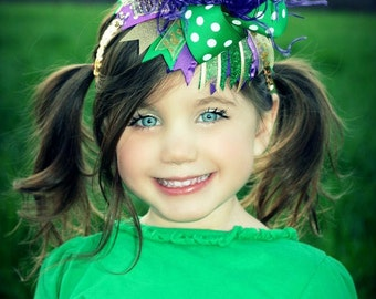 Girls OTT Mardi Gras Inspired Hair Bow Green, Purple, Gold, and Sparkles with Ostrich Puff Center
