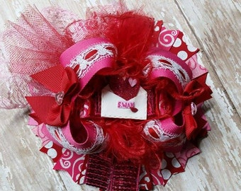 Girls OTT Valentine SWAK Over the Top Red and Pink Valentines Hair Bow. One of a Kind and Ready to Ship