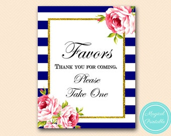 Red Floral, Navy Favors Sign, Bridal Shower Favors, Please take one Sign Printable, Navy Bridal Shower Sign, Navy Wedding Sign BS406 TLC406