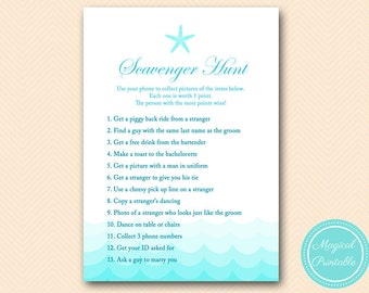scavenger hunt, hens party scavenger, Nautical, Sea, Starfish, Beach Bridal Shower Games, Bachelorette, Wedding Shower BS28