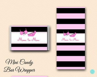 Mini Candy Bar Wrapper, Bridal Shower Favors, Thank You Favors, Lingerie Bridal shower Decor, Bridal Shower Decoration BS450