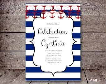 DIY Nautical Custom Invitation, Baby Shower Invitation, Bridal Shower, Birthday Party Invitations, printabell