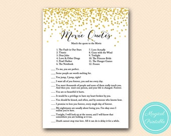Movie quote game, famous quotes, bridal shower movie love quote game, Gold Confetti Bridal Shower, Bachelorette, Wedding Shower BS46