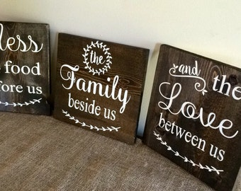 Bless The Food Before Us Family Beside Us And Love Between Us ~ Wooden Sign ~ Dining Room Kitchen Sign ~ Custom Sign ~ 3 Piece Set