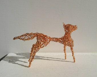 Wiley Wirey Fox. Copper Wirework Sculpture.