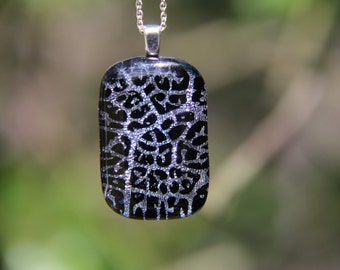 Silver seaweed dichroic glass pendant, fused glass, dichroic necklace, silver glass, silver fused glass pendant,  silver pendant ,