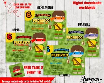 Teenage mutant ninja turtle (Invitación Totugas Ninja) tarjeta invitaciones 5x7 or 4x6 -FREE Tags
