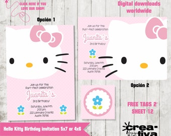 Kitty Birthday Party Invitation - digital file - PRINTABLE- FREE Tags
